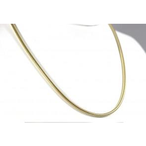 Collana catena maglia tubo gas argento dorato - 50 cm x 0,3 cm; 16,6 gr