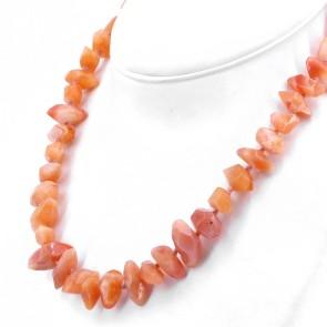 Collana sassi di agata arancio -10-26 mm - e argento.  104.5 gr; 50 cm