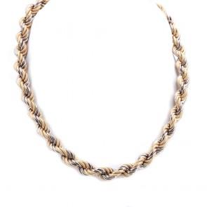Collana girocollo catena treccia oro bicolore