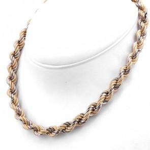 Collana girocollo catena treccia oro bicolore-  44 cm; 57.6 gr