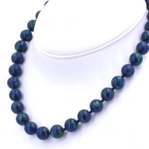 Collana di azzurrite-malachite, boulle 12 mm - e argento.  89.64 gr; 45 cm