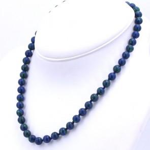 Collana di azzurrite-malachite, boulle 8 mm - e argento.  40.3 gr; 50 cm