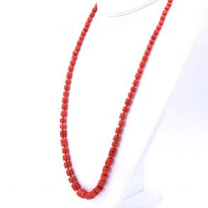 Collana di corallo rosso, barilotti a scalare -5-11 mm- e oro - 66 gr; 78 cm