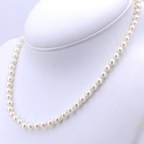 Collana da 45 cm di perle di mare - 6-6.5 mm- e oro; 24 gr