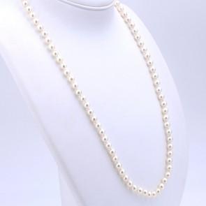 Collana da 70 cm di perle giapponesi - 6.5-7 mm- e oro; 42.13 gr
