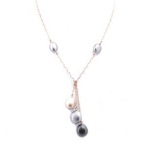 Collana Meteore, pepite  oro -  45 cm + nappa tripla 6.5 cm; 14.4 gr