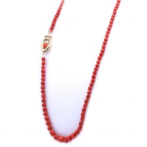 Collana di corallo rosso, barilotti a scalare -5-11 mm- e oro - 68 gr; 80 cm
