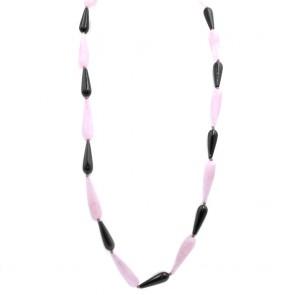 Collana maxi gocce allungate quarzo rosa, onice e argento