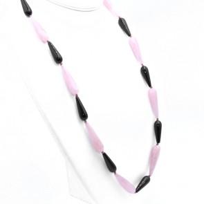 Collana maxi gocce allungate quarzo rosa, onice e argento - 80 cm; 96.86 gr