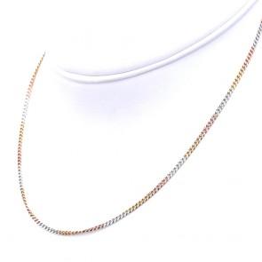 Collana catena uomo bande 3 colori oro, maglia groumette - 45 cm; 6.43 gr
