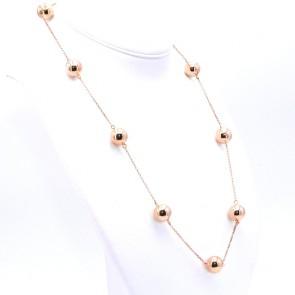 Collana catena oro e maxi boulle, in stile; 70 cm; 22.5 gr