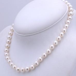 Collana da 47 cm di perle AD - 9-9.5 mm- e argento; 49 gr