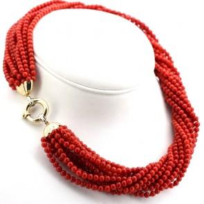 Collana maxi torchon a 12 fili di corallo rosso moro, microboulle 4-5 mm - 153.85 gr; 50 cm