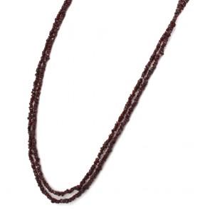 Collana doppio filo granato e oro - 34.5 gr; 66 cm