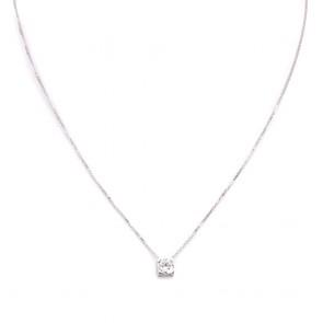 Ciondolo punto luce oro e diamante solitario - 0.56 ct; 2.29 gr