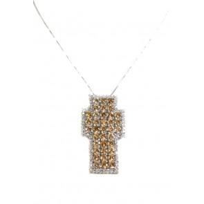 Ciondolo croce zirconi bianchi e citrini e argento