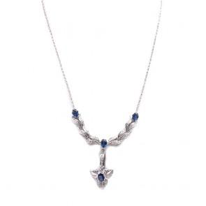 Collier oro, zaffiri - 4.6 ct - e diamanti -  1.65 ct- 52 cm; 17.28 gr.