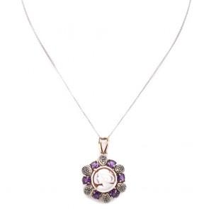 Ciondolo cammeo in stile, oro, argento,  ametista e diamanti; 6.6 gr