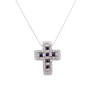 Ciondolo croce oro, diamanti - e zaffiri