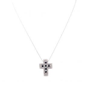 Ciondolo croce oro, diamanti - 0.50-0.60 ct - e zaffiri -  1.00-1.10 ct- 2.8 cm x 2.2 cm; 13.3 gr.