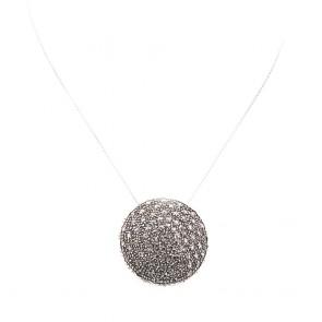 Ciondolo maxi toppa circolare in stile, oro, argento e diamanti -2.5-3.0 ct; 11.1 gr