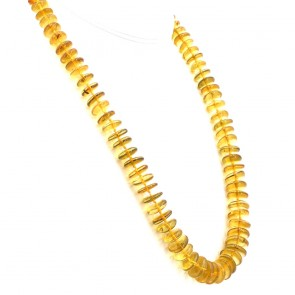Collana ambra dischetti irregolari, 1.1-1.7 cm e argento - 67.64 gr; 65 cm