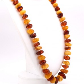 Collana ambra sassi bicolore, 1.1-3 cm - 170 gr; 85 cm