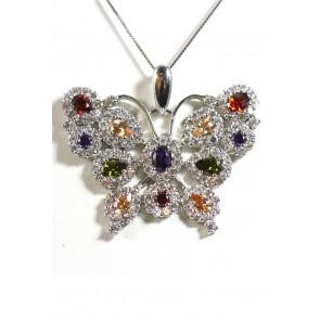 Ciondolo farfalla zirconi bianchi e multicolor e argento