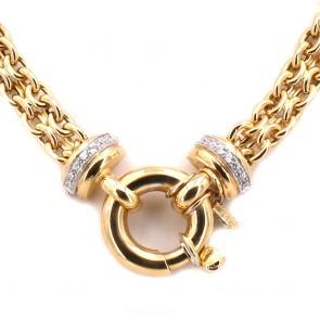 Collana catena girocollo oro con maxi moschettone e zirconi -  45 cm; 42.32 gr