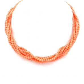 Collana torchon a 6 fili di corallo rosa