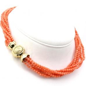 Collana torchon a 6 fili di corallo rosa, microboulle 3.5 mm - 56 gr; 43 cm. Chiusura cammeo oro.