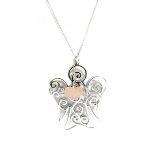 Ciondolo angelo argento, con catenina rollò da 80 cm