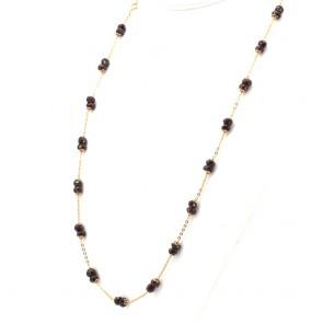 Collana, catena in stile oro e granati - 31.6 gr; 72 cm