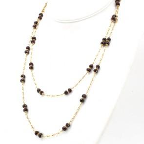 Collana, catena in stile oro e granati - 48 gr; 120 cm