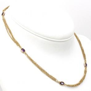 Collana catena multipla oro e ovali ametista - 46 cm; 15 gr