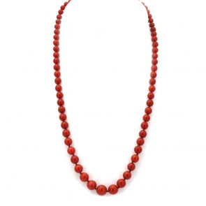 Collana di corallo rosso, sferico a scalare