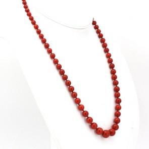 Collana di corallo rosso, sferico a scalare -5.5-12.5 mm - e oro - 56 gr; 64 cm
