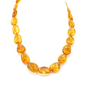 Collana ambra sassi color miele