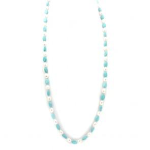Collana di turchese e perle e argento