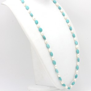 Collana di turchese e perle -8-12 mm - e argento.  80 cm; 62.1 gr.