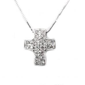 Ciondolo croce oro e diamanti -