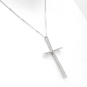 Ciondolo croce oro e diamanti - 0.50-0.60 ct - 4.8 cm x 3 cm; 4.5 gr.