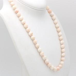 Collana di corallo rosa, sferico -11.5 mm - e oro - 108.8 gr; 65 cm