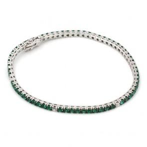 Bracciale tennis oro, diamanti - 0.49 ct - e smeraldi
