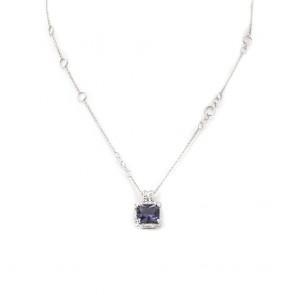 Ciondolo quadro iolite oro e diamanti - 0.25 ct; 8 gr