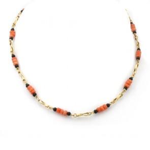 Collana catena oro, corallo e onice