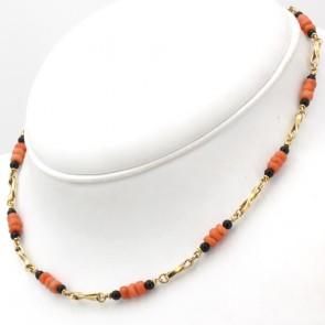 Collana catena oro, corallo e onice - 40 cm; 14.95 gr