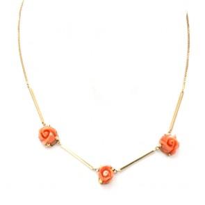 Collana oro e rose di corallo rosso