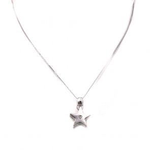 Ciondolo stella oro e diamante - 0.03-0.04 ct - 2.5 cm x 1.6 cm; 4.81 gr.