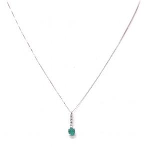 Ciondolo mini fiammifero oro, smeraldo -0.40 ct- e diamanti -0.06 ct- 1.5 cm x 0.4 cm - 42 cm; 1.16 gr